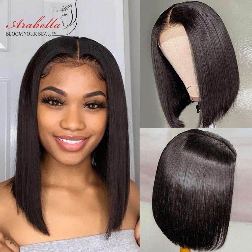 Perruque péruvienne droite courte Bob avant de lacet perruques 13x4 avant de lacet perruques de cheveux humains pré-plumées avec des cheveux de bébé Arabella Remy Bob perruque