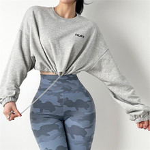 Women's High Waist Sweater Loose Short Long-Sleeved Jacket Fitness Yoga Clothes Sports Tops Running Blouse Quick-Drying T-Shirt