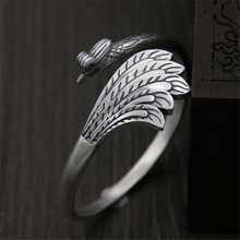 цена на 925 Sterling Silver Old Silver Craftsman Hand-crafted Delicate Carving Bright Face Phoenix Opening Women's Bracelet Jewelry