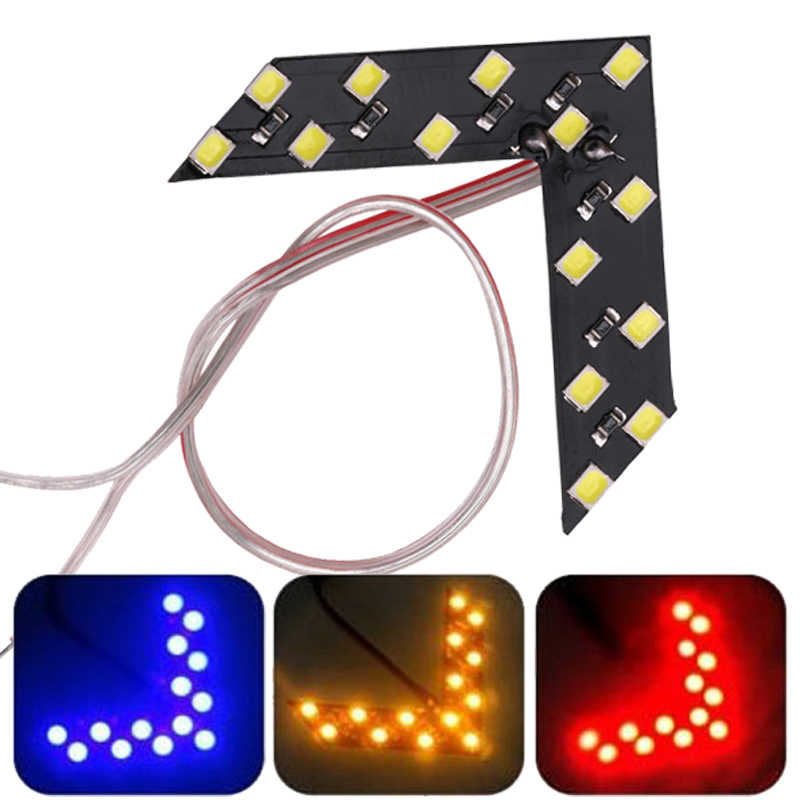 2x Auto LED Indicator Lamp achteruitkijkspiegel Signaal Light Auto/Motorfiets Arrow Panel Styling Lamp Rood Blauw Geel 12V 12SMD