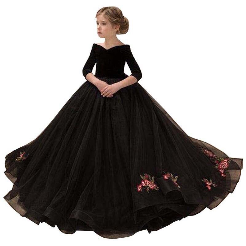 2020 novas crianças vestidos menina elegante longo baile de formatura preto bordado tule vestidos crianças 8 grau vestidos formatura