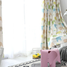 Modern Children's European Polyester / Cotton Printing Curtains for Living Dining Room Bedroom.