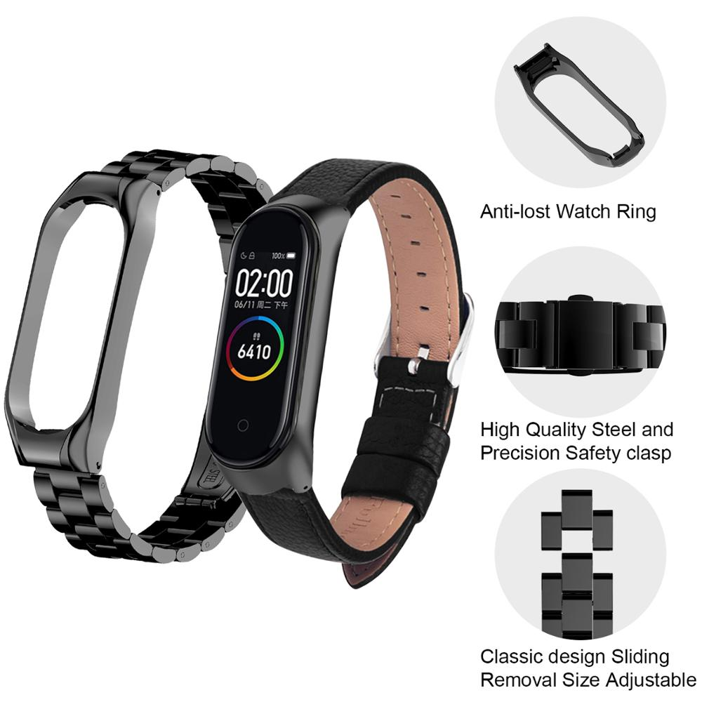Leather Strap For Xiaomi Mi Band 3 4 Wrist Metal Bracelet Screwless Stainless Steel MIband for Mi Band 4 3 Strap Wristbands