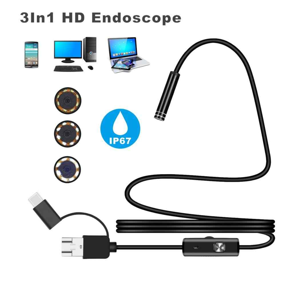 Android 7MM Micro USB Type-C USB 3-in-1 Computer Endoscoop Met 6 Verstelbare LED waterdichte USB Inspectie Video Camera