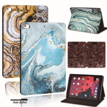 Printed Marble PU Leather Smart Tablet Stand Folio Stand Case Cover For iPad 2 3 4 5 6 /iPad MINI 1 2 3 4 5 /Air 1 2 3/Pro  2nd for ipad 2 3 4 5 6 7 air 1 2 3 pro 11 2018 2020 pu leather tablet stand folio cover ultra thin star colors slim case