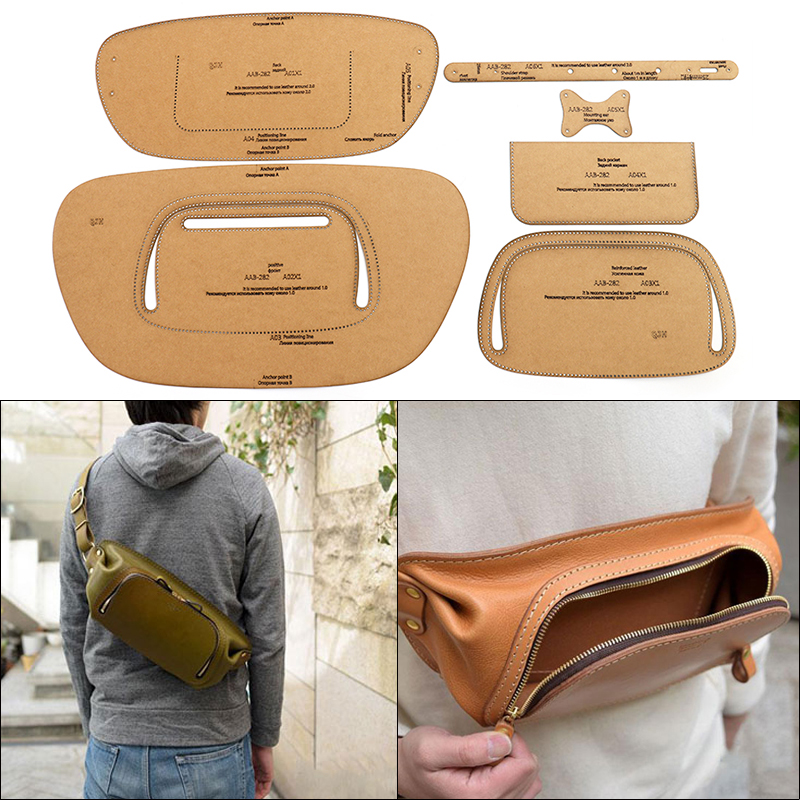 Men's Chest Bag Shoulder Bag Kraft Paper Template DIY Leather Tool Sewing Stencil Templates Handmade Leather Craft Bag Template