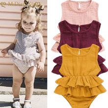 Newborn Baby Girl Bodysuit Cute Child Baby Girl Clothes Sleeveless Ballet Tutu Dress Cotton Linen Solid Color Clothes 0-24M Set(China)