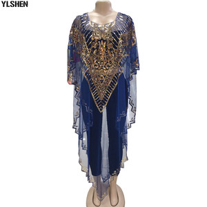 African Dresses for Women Dashiki Mesh Sequin African Clothes Christmas Maxi Dress Party Robe Africaine Femme Plus Size Clothing