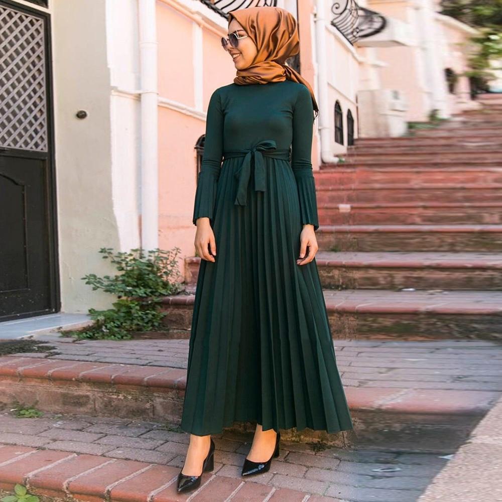 Ramadan Eid Mubarak Pleated Abaya Hijab Muslim Dress Caftan Dubai Kaftan Turkish Dresses Islamic Clothing Abayas For Women Islam
