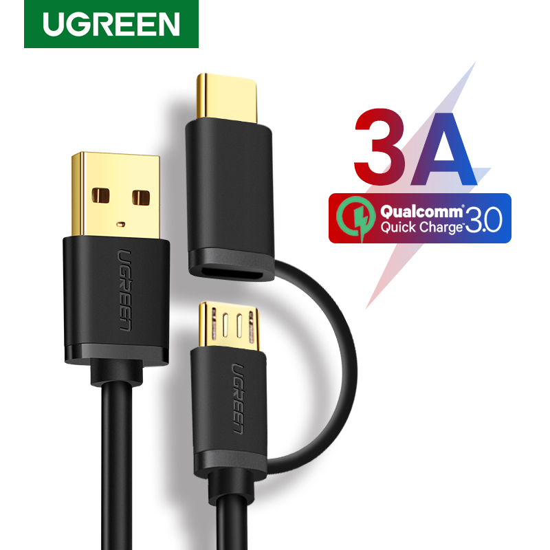 Ugreen USB Type C Cable For Samsung Galaxy S10 S9 Plus 2 In 1 Fast Charging Micro USB Cable For Xiaomi Tablet Android USB Cable