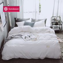 Sondeson Brief White Bedding Set Soft Printed Duvet Cover Set Flat Sheet Single Double Queen King Bed Linen Set Free Shipping