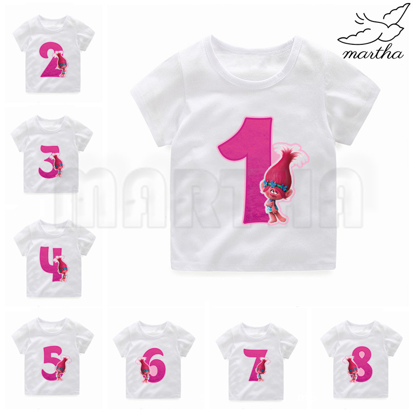 Trolls <font><b>Birthday</b></font> <font><b>Tshirt</b></font> <font><b>Baby</b></font> Girls White <font><b>Tshirt</b></font> Boy Summer Short-Sleeved Casual T-shirts Kids Children's Fashion Tops image
