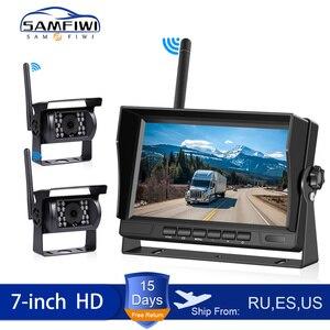 Monitor do carro sem fio 7 Polegada caminhão backup vista traseira display e wi fi câmera de backup reversa para carro rv ônibus tv tela exibição