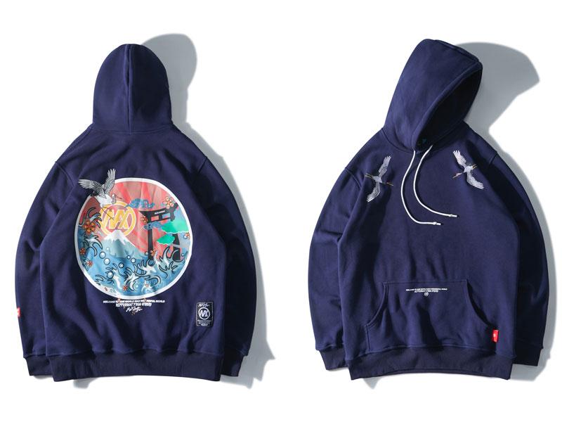 2019 Hip Hop Oversize Casual pulóver sudadera rosa Naby azul pareja Harajuku bordado grullas polar Hoodies Streetwear hombres - 3