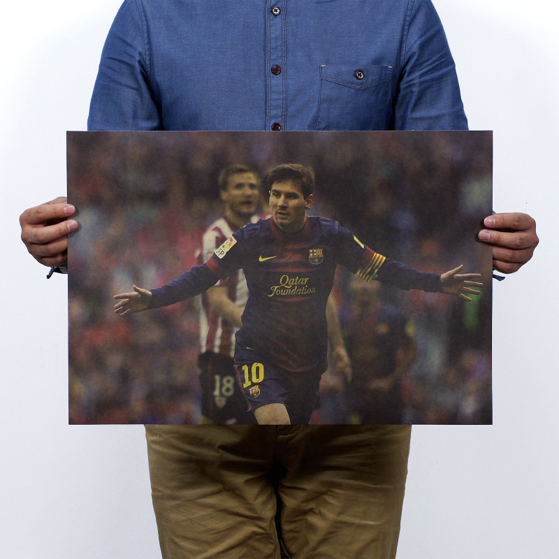 Football Star Lionel Messi Vintage Kraft Paper Poster Map School Wall Garage Decoration Wall Decals Art DIY Retro Decor Prints