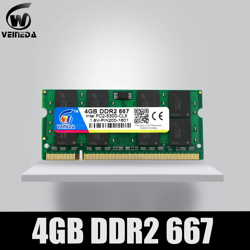 VEINEDA Ram <font><b>ddr2</b></font> <font><b>4gb</b></font> 2gb 1gb 667MHz for Notebook Mobo support ddr 2 PC2-5300 <font><b>Sodimm</b></font> Ram image