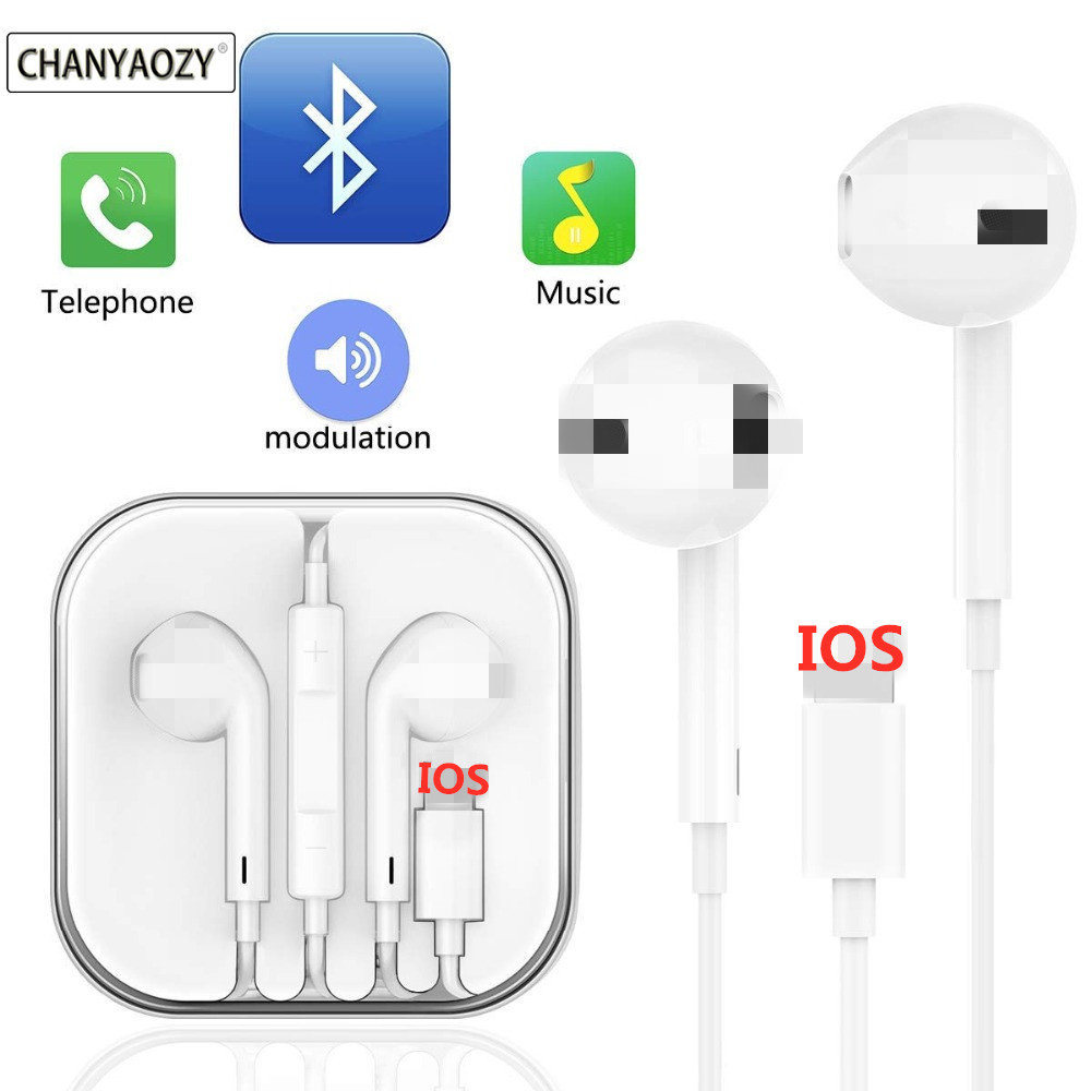 Bluetooth Wired Earphone For IPhone 8 8 Plus In Ear Stereo With Microphone Earbuds For IPhone 7 Plus X XR XS Max Earphones