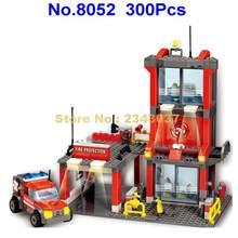 8052 300 pces centro de resgate de incêndio urbano educacional 3 blocos de construção brinquedo