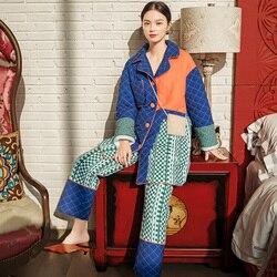 [Ewq] 2020 Herfst Winter Nieuwe Patroon Revers Lange Hit Kleuren Enkele Breasted Dikke Tweedelige Set Pyjama Vrouwen AH84909M
