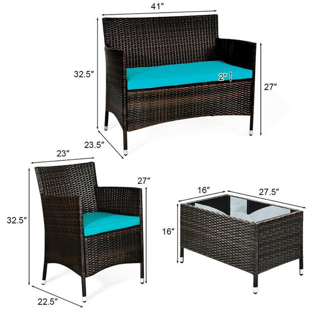 4PCS Rattan Patio Furniture Set 2