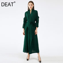 DEAT 2021 nouveau automne mode femmes plissé manteau solide pleine manches col en v en vrac élégant longue longueur ceintures mince volants TX803