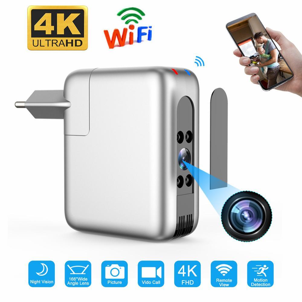 Sem fio wi fi mini câmera espia usb carregador micro câmera 4k 1080p cam câmera do bebê noites monitor de visão filmadora para casa inteligente