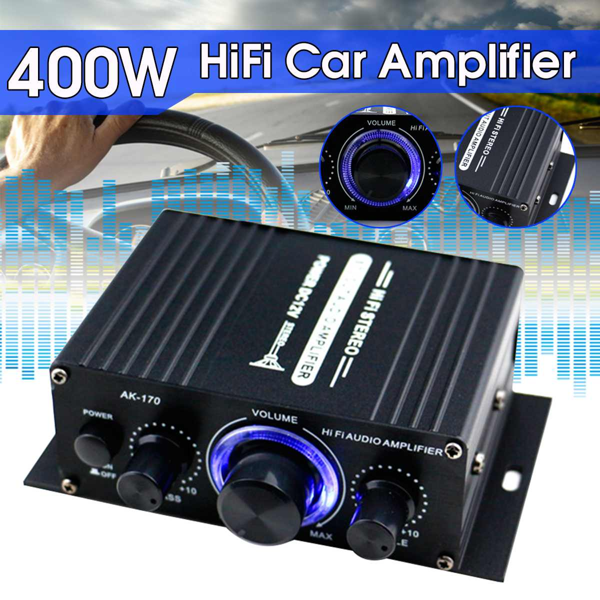 200W+200W 12V 2CH Car Audio Amplificador HIFI Audio Power Amplifier Bluetooth Stereo Amplifiers FM Radio USB W/ Remote Control