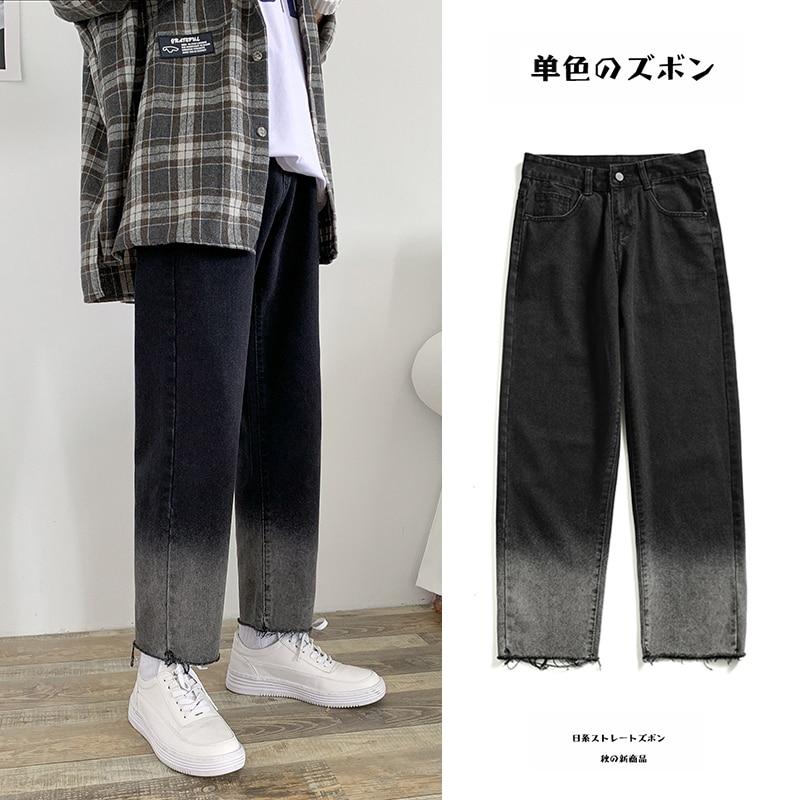 2019 Autumn Men's Gradual Change Color Baggy Homme Jeans Cargo Pocket Mens Trousers Bf Wind Fashion Loose Casual Pants S-2XL
