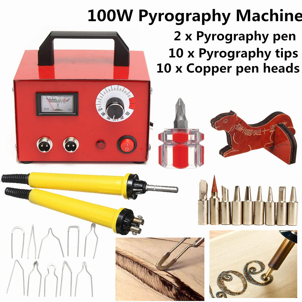 100W Digital Multifunction Pyrography Machine Gourd Wood With Pyrography Pen Wood Burning Pen Craft Tool Kit Sets AC 220V/110V
