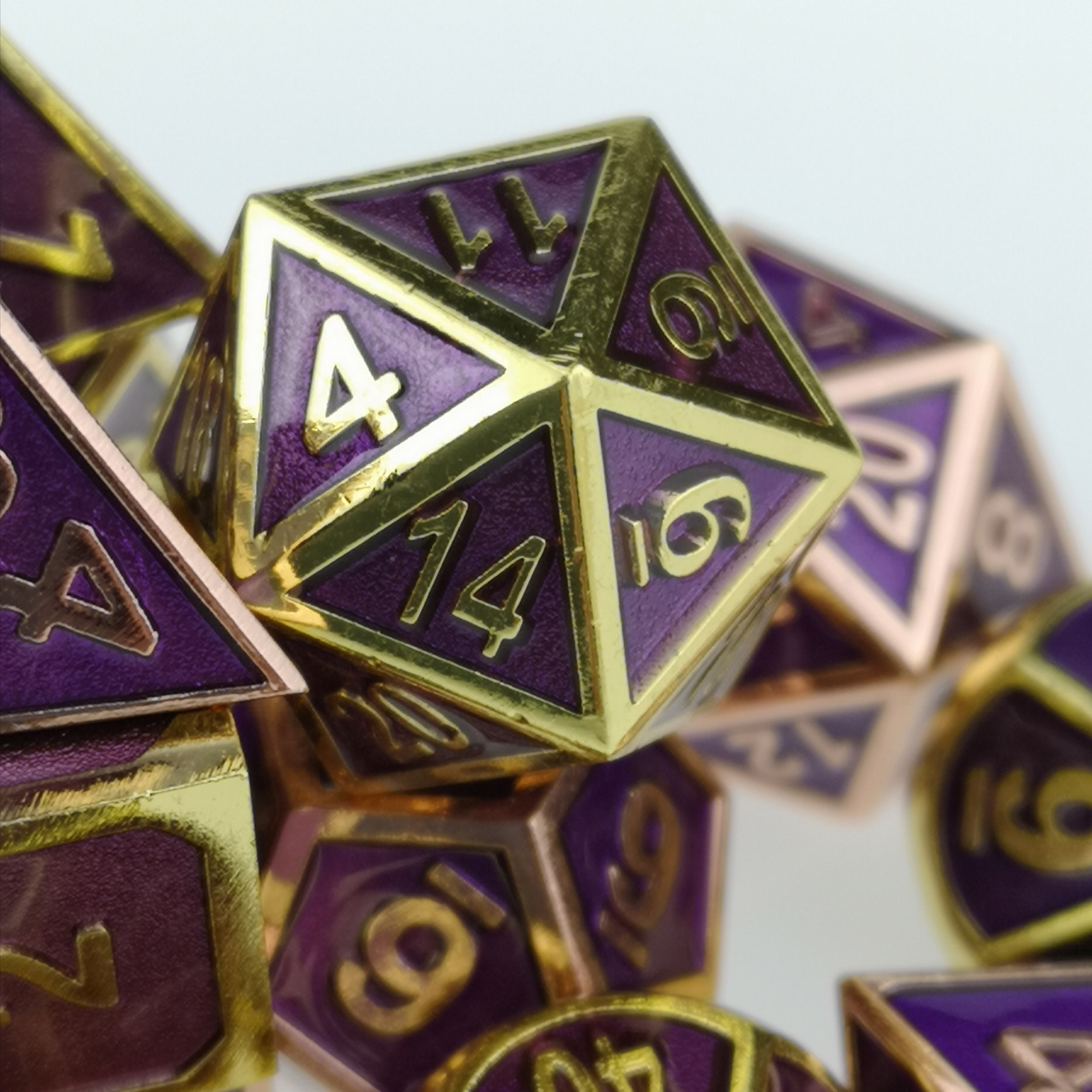 Standard 7-Die Set Purple Metal Dice Copper / Brass