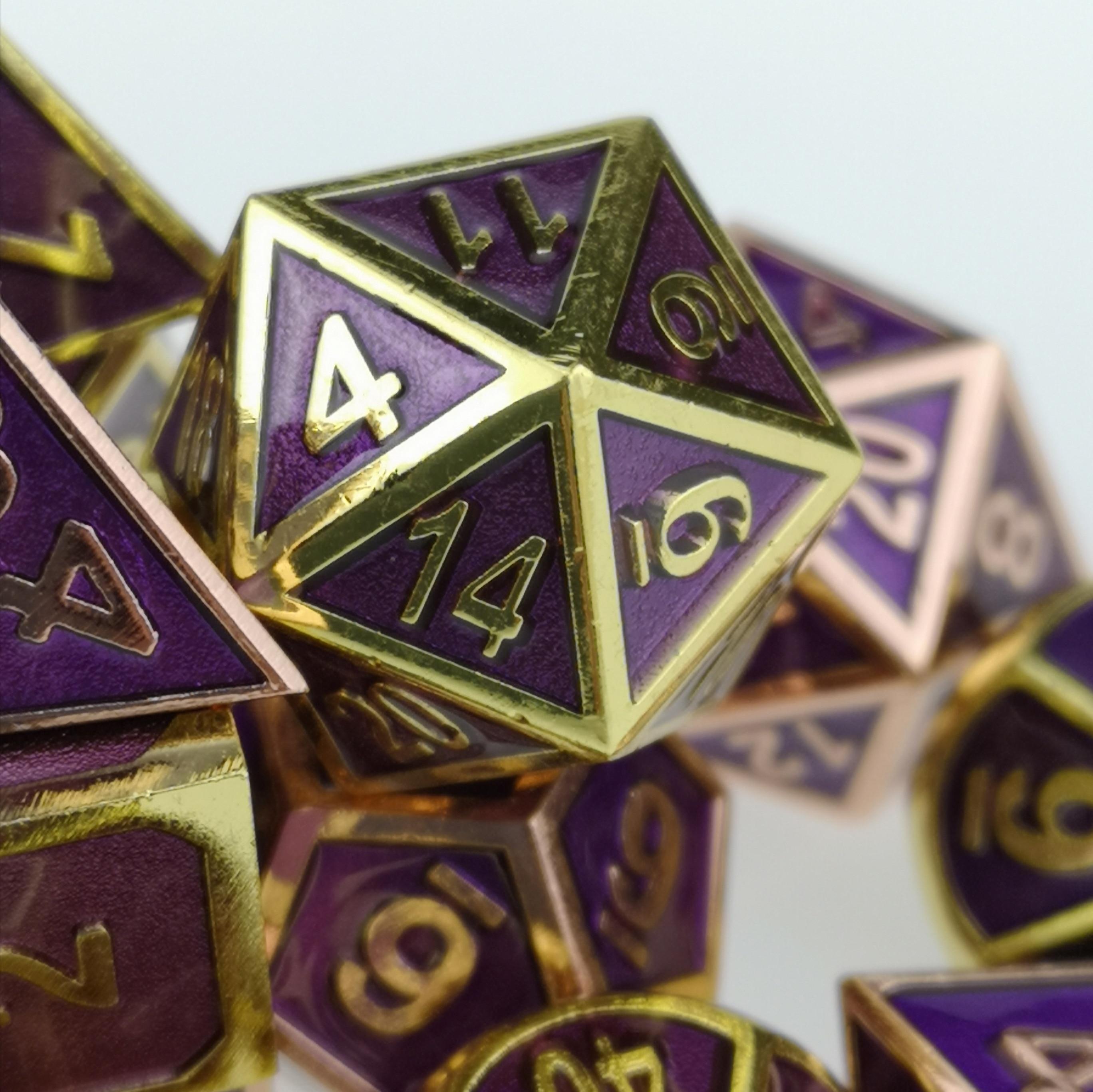 Standard 7-Die Set Purple Metal Dice Copper / Brass