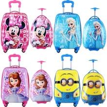 """1"""" дюймовый мультяшный Детский чемодан на колесиках, сумка для детей, чемодан для мальчиков и девочек, переноска ABS+ PC, багаж на колесиках, детский Багаж"""