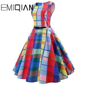 Image 3 - Fashion Women Floral Print Sleeveless Party Dress Simple Knee Length Print Graduation Dress