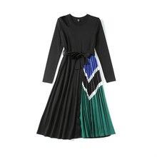 Женское плиссированное платье миди merchall осеннее с длинным