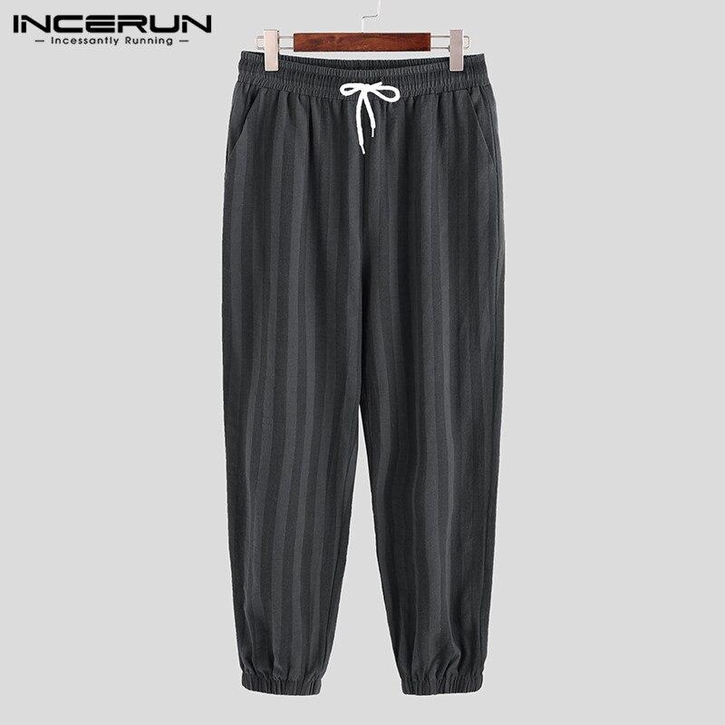 INCERUN Fashion Cotton Linen Harem Pants Men Striped Elastic Waist High Street Hip-hop Joggers Trousers Men Casual Pants S-5XL
