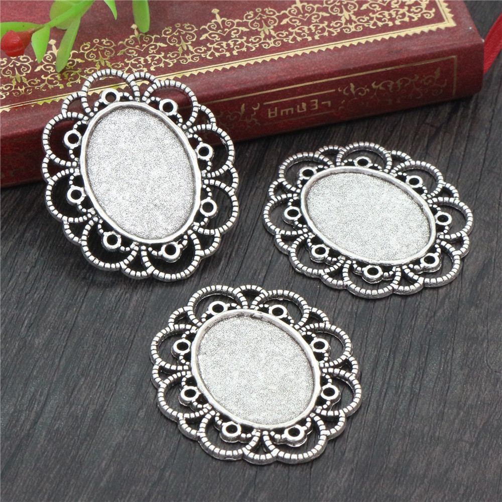 4pcs 18x25mm Inner Size Antique Silver Plated Flowers Style Cameo Cabochon Base Setting Pendant Necklace Findings  (C2-33)