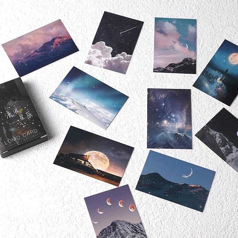 28-sheets-set-wandering-stars-lomo-card-starry-sky-mini-postcard-message-card-christmas-gifts