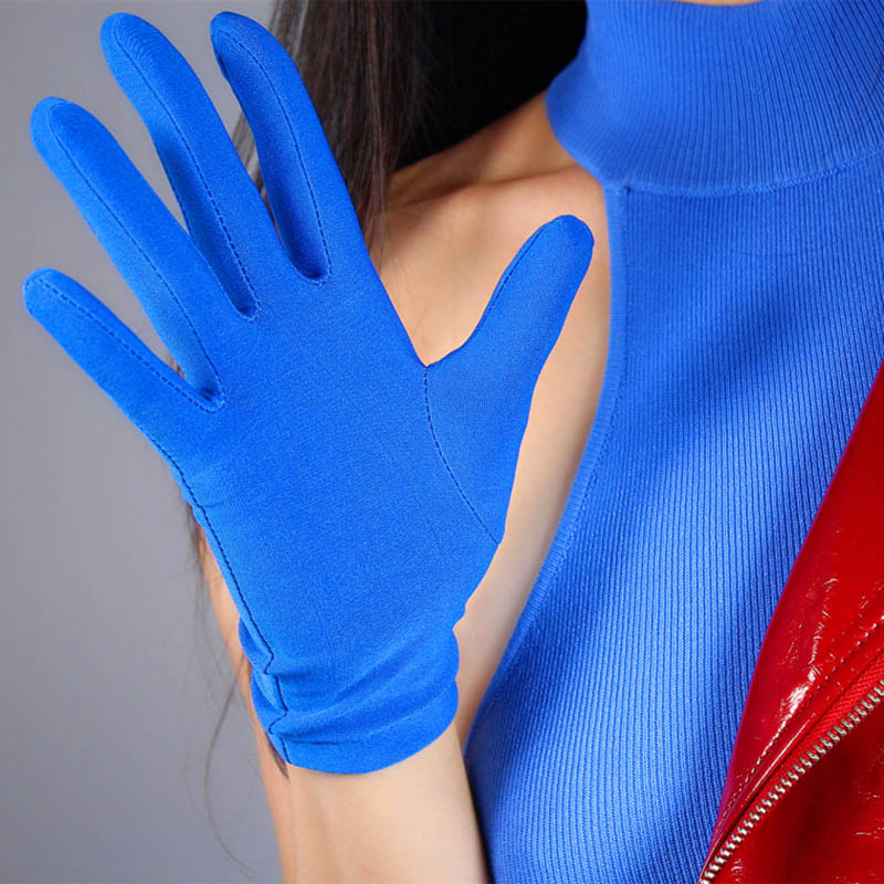 Unique Blue Bridal Gloves Short Spandex Trim Yellow Wedding Bridal Accessory Female Wrist Length Red Wedding Glove ST311