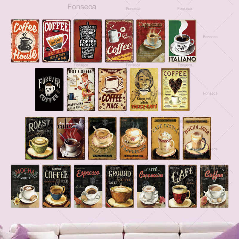COFFEE LARGE METAL TIN SIGN POSTER VINTAGE STYLE WALL PLAQUE KITCHEN BAR CAFE