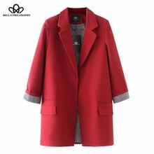 Bella philosophy осень зима женский длинный рукав повседневный Блейзер Дамская верхняя одежда размера плюс однобортный длинный Блейзер Куртка