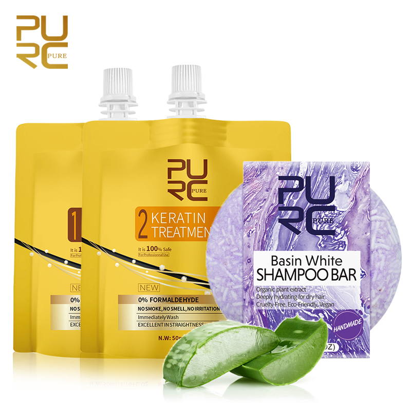 PURC Curly Hair Cream With Shampoo Repair To Smooth Shiny Hair Care Moisturizing Treat Dry Frizzy Split Ends Keratin Treatment