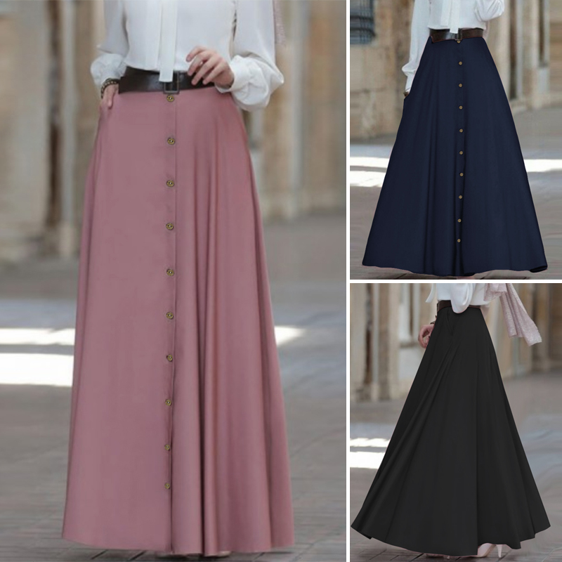 ZANZEA 2020 Spring Women Long Skirt Office Lady High Waist A Line Maxi Skirts Vintage Faldas Mujer Casual Jupe Femme Plus Size