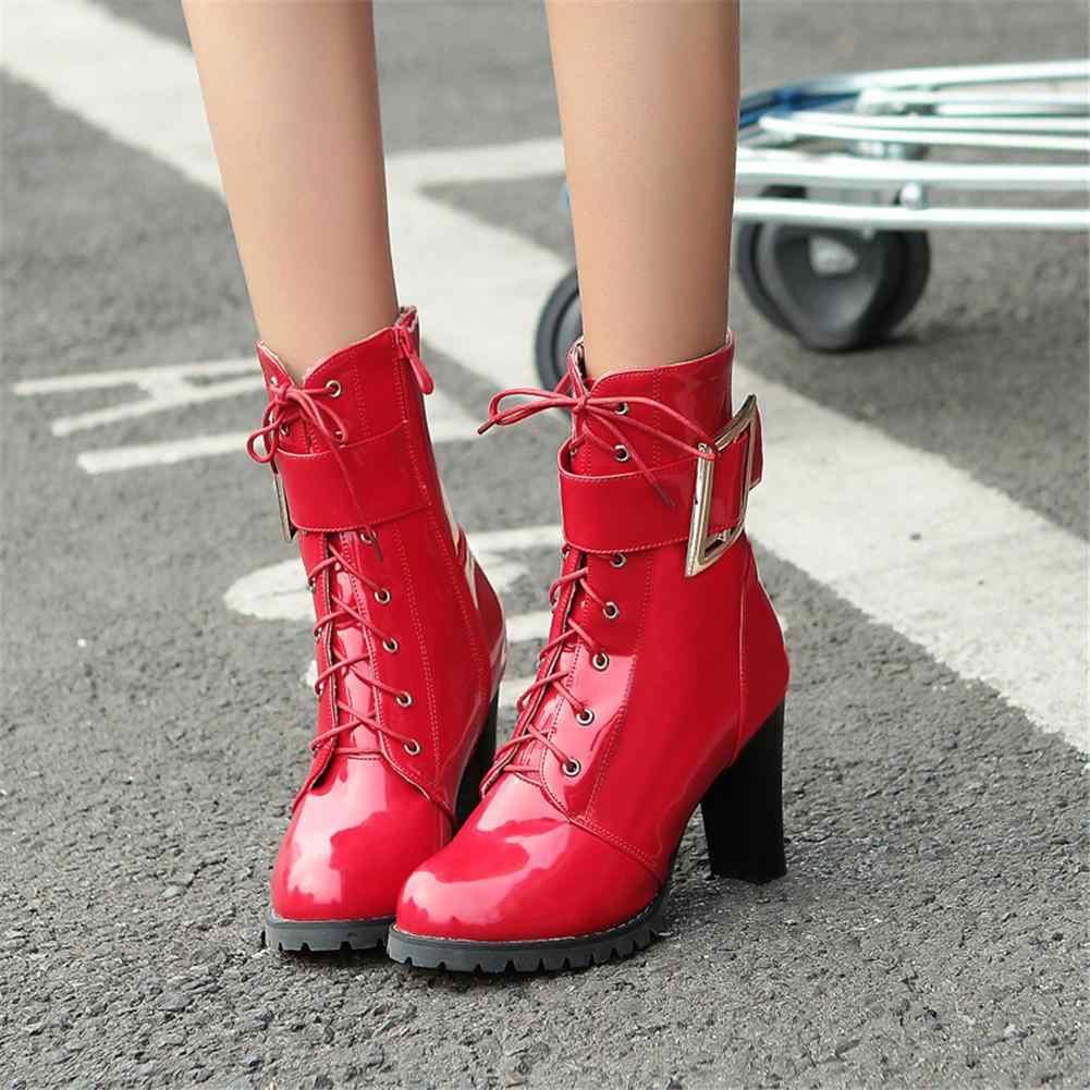 BONJOMARISA ฤดูหนาว 32-43 แฟชั่นสิทธิบัตร PU Booties Lady Elegant ตกแต่งหัวเข็มขัดรองเท้าผู้หญิงรองเท้าส้นสูง 2020 รองเท้าผู้หญิง