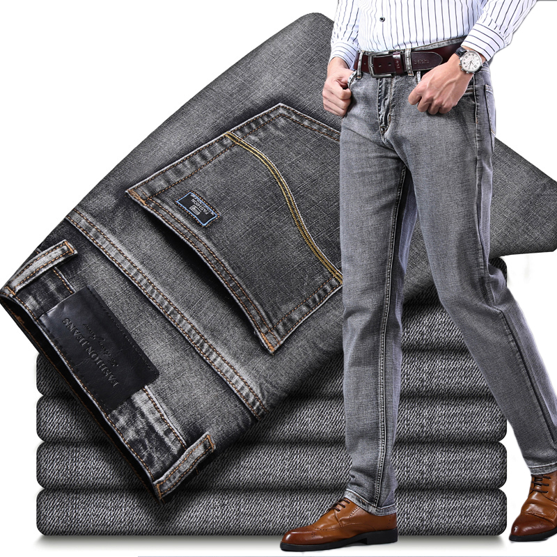 2019 Autumn Winter New Men's Stretch-fit Jeans Business Casual Classic Style Fashion Denim Trousers Male Black Blue Gray Pants