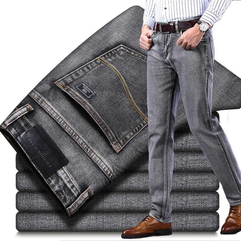 2019 осень зима новые мужские Стрейчевые джинсы деловые Повседневные Классические Стильные модные джинсовые брюки мужские черные синие серые брюки