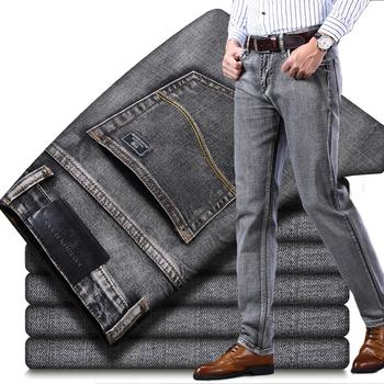 2020 jesienno-zimowa nowe męskie spodnie jeansowe typu Stretch Business Casual w stylu klasycznym modne spodnie jeansowe męskie czarne niebieskie szare spodnie tanie i dobre opinie Brother Wang Zipper fly Medium REGULAR Na co dzień Midweight Pełnej długości Denim Kieszenie Stałe X455113 Plaid Proste