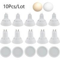 Focos LED regulables GU10 MR16 10W AC 220V 5730 SMD para dormitorio, bombillas de mesa, foco blanco, haz ancho de 180 grados, 240V, 10 Uds.