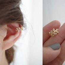 Moda złoty liść Ear Cuff dla kobiet 1 sztuk urocze cyrkon klipsy złota ucha mankiet bez Piercing kolczyki biżuteria
