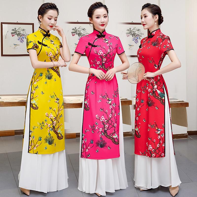 Traditional Chinese Women Short Sleeve Aodai Dress Autumn Satin Mandarin Collar Qipao Sexy A-Line Loose Cheongsam