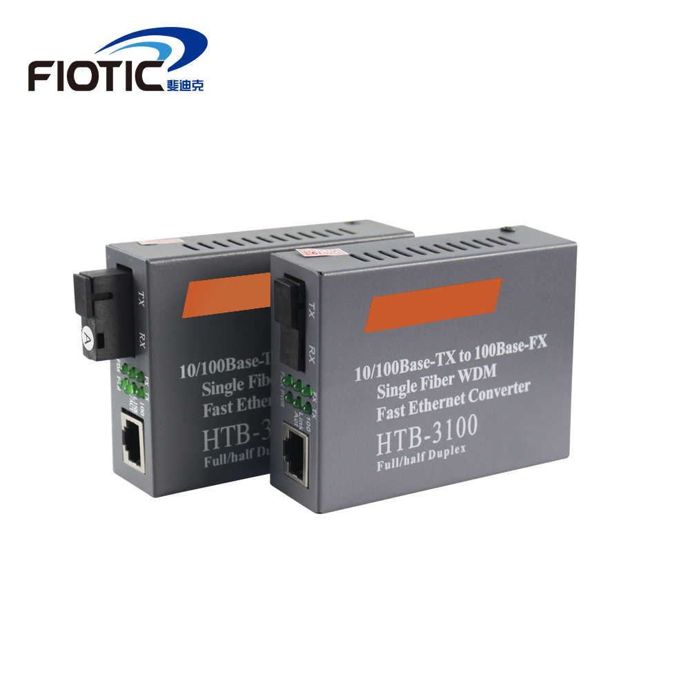 1 Pair HTB-3100 10/100M Optical Fiber Network Media Converter FTTH Fibra Optic Transceiver Converter Single Mode Single Fiber